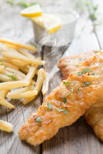 Fish And Chips With Hot Steams