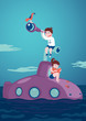 Journey and Adventure. Girl with a book and boy with a telescope are siting on a submarine.