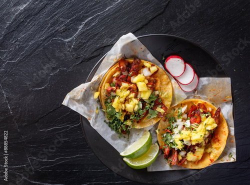 Fotografie, Obraz  mexican al pastor street tacos shot from overhead