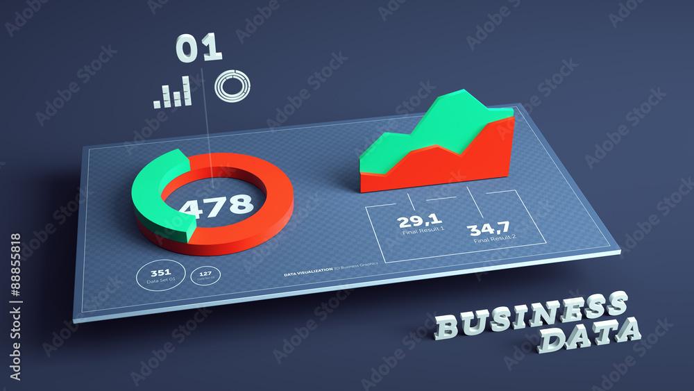 Fototapety, obrazy: 3D business data visualization background