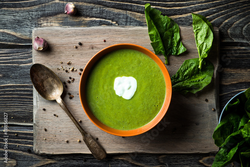 Fototapeta Green spinach soup