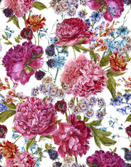 FototapetaWatercolor Seamless Pattern with Burgundy Peonies