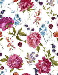 Panel Szklany Na drzwi Watercolor Seamless Pattern with Burgundy Peonies in Vintage