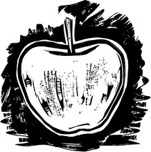 A Black And White Woodcut Style Drawing Of A Apple.