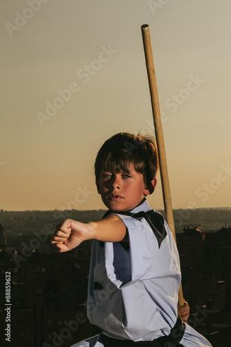 Deurstickers Vechtsport Kid Practising Martial Arts