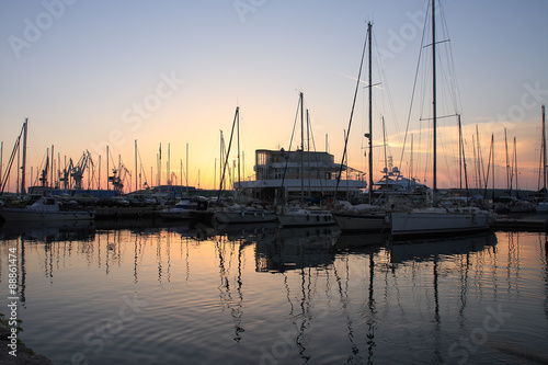 Photo  Harbour with boats at sunset time in Croatia