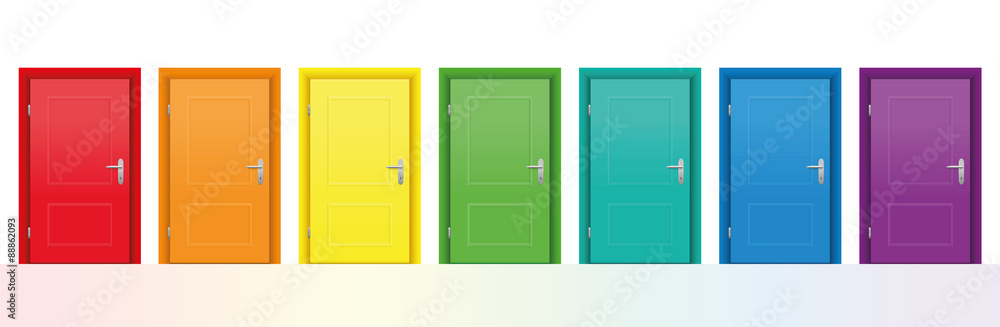 Fototapety, obrazy: Seven colorful doors. Isolated vector illustration on white background.