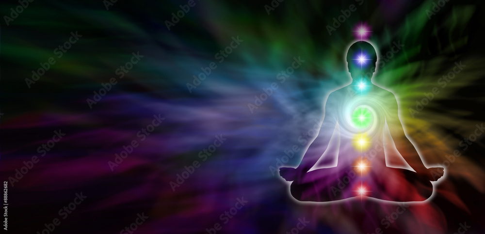 Chakra Meditation Website-Header - Große dunkle Banner mit einem ...