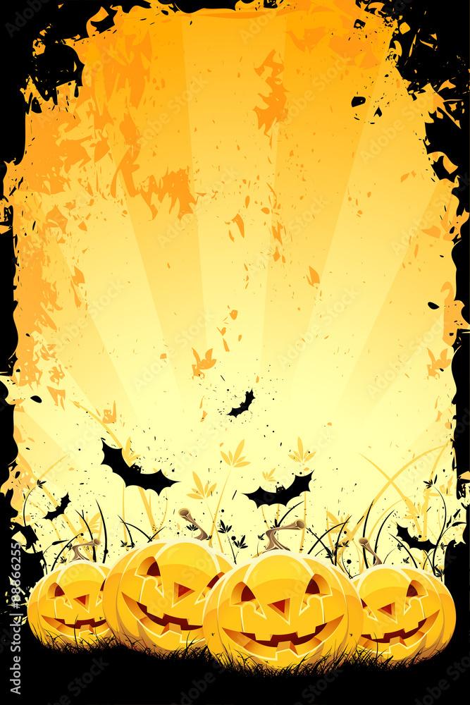 Leinwandbild Motiv - WaD : Grungy Halloween background with pumpkins and bats