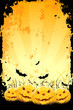 canvas print picture Grungy Halloween background with pumpkins and bats