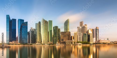 Poster Foto van de dag Singapore Skyline and view of Marina Bay