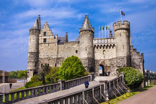 Poster Antwerp Landmarks of Belgium - Het Steen castle in Antwerpen
