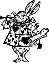 A Black And White Woodcut Style Drawing Of The Rabbit From Alice In Wonderland. Hand Drawn To Resemble A Woodcut Illustration.