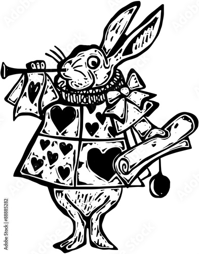 Photo A black and white woodcut style drawing of the rabbit from Alice in Wonderland