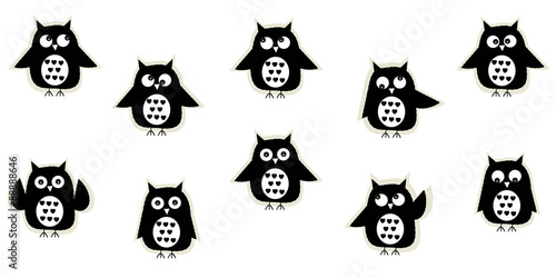 Poster Uilen cartoon Black white owl vector background