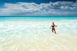 Beautiful woman on the Cancun beach