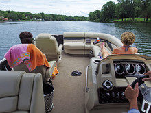Point Of View Of Pontoon Boaters On River
