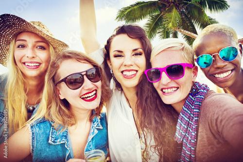 Fotografie, Obraz  Girlfriends Friendship Party Happiness Summer Concept