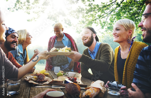 Photo Diverse People Luncheon Outdoors Food Concept