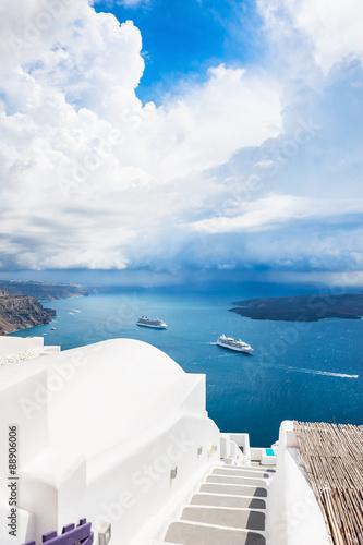 Papiers peints Santorini Beautiful landscape with sea view.