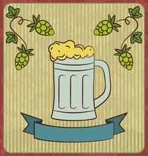 Retro Illustration Of Beer Free Label, Beer Poster, Vector Illus