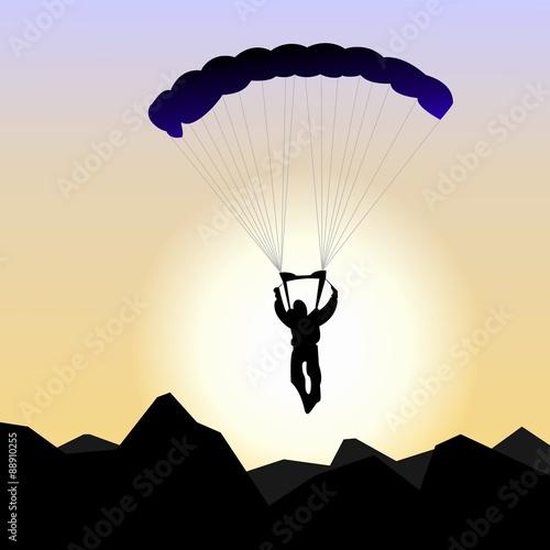 Fototapeta Realistic illustration parachutist of sunrise