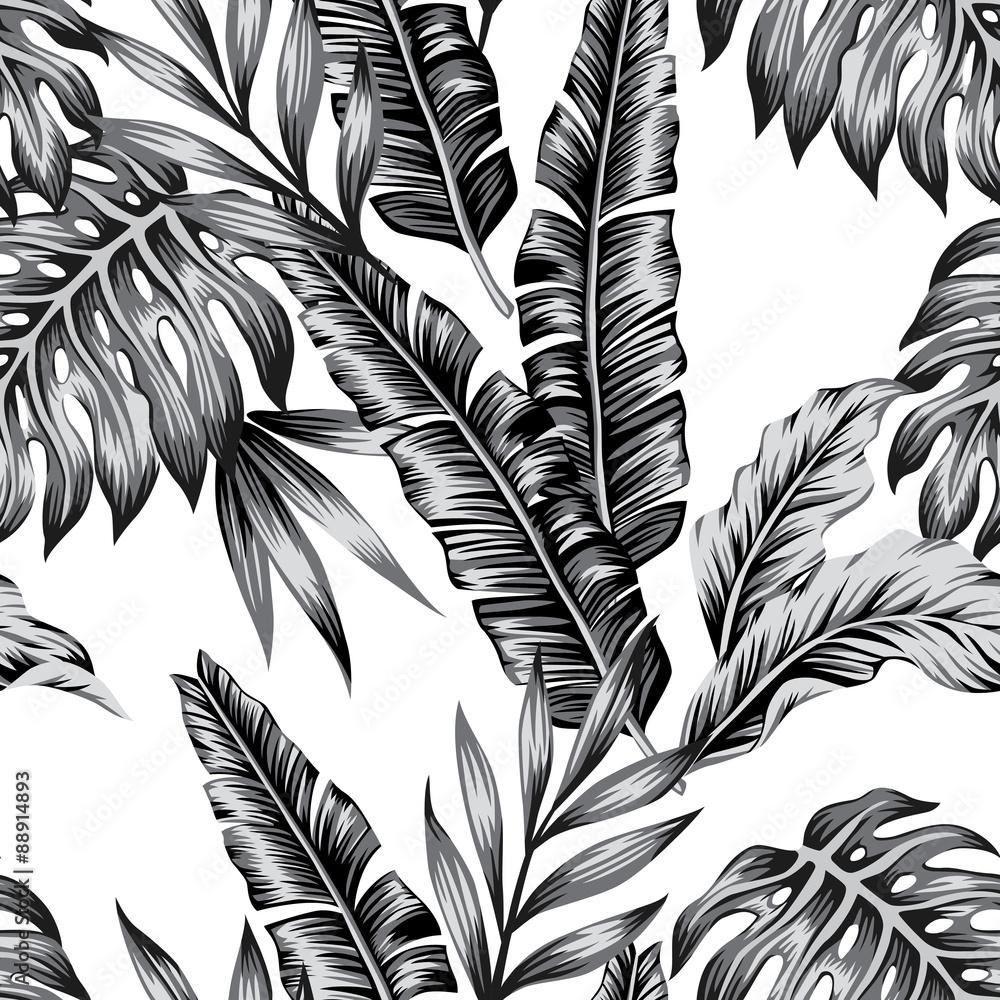 Fototapeta tropical plants trendy seamless background