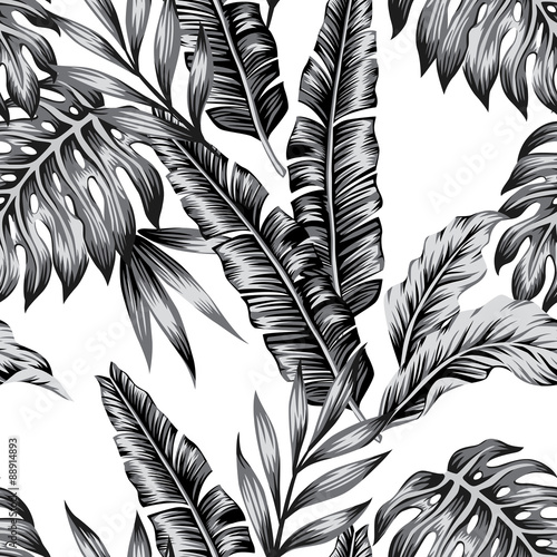 tropical plants trendy seamless background