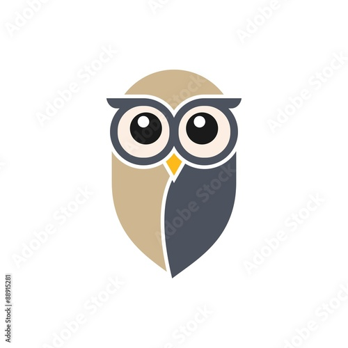 Deurstickers Uilen cartoon Owl Logo Template
