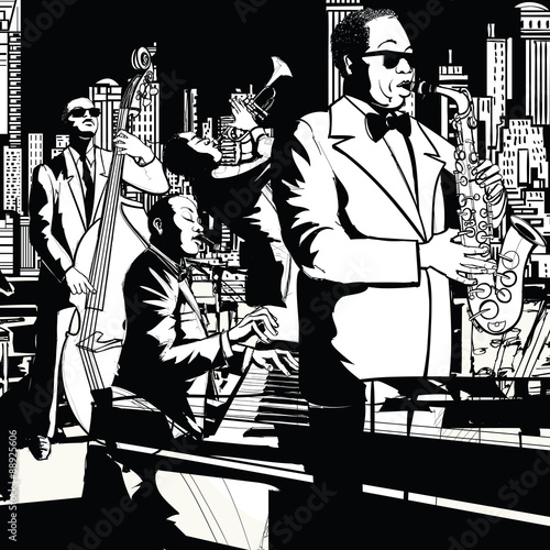 In de dag Muziekband Jazz band playing in New York
