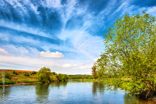 Printed kitchen splashbacks River View to river banks with green trees