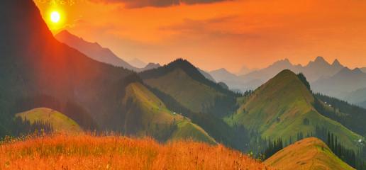 Panel Szklany Podświetlane Wschód / zachód słońca Summer mountains
