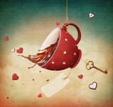 Illustration of fantasy with red cup of tea