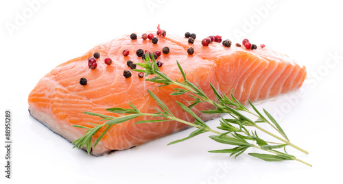 Photo Stands Fish Fresh raw salmon fillet with herbs and spice