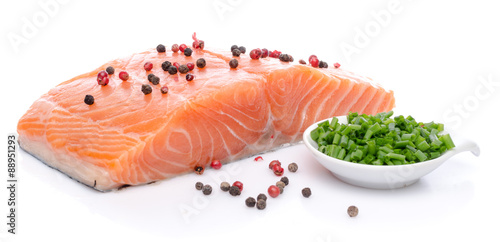 Canvas Prints Fish Fresh raw salmon fillet with herbs and spice