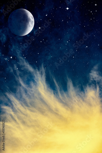 Fotobehang - Wispy Clouds and Moon