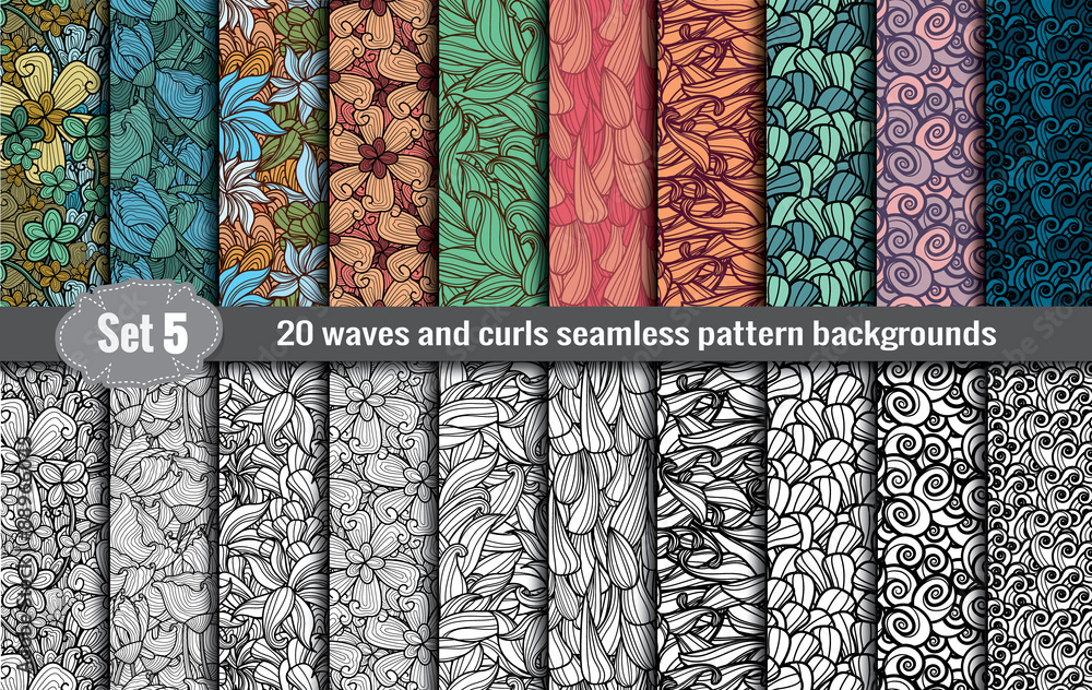 Fototapeta waves and curls seamless pattern.Pattern swatches included for illustrator user, pattern swatches included in file, for your convenient use.