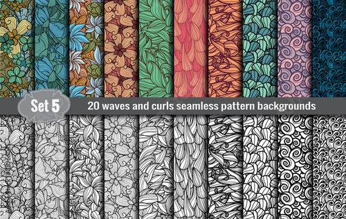 waves and curls seamless pattern.Pattern swatches included for illustrator user, pattern swatches included in file, for your convenient use. - fototapety na wymiar