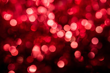 Abstract Red Circular Bokeh Background Of Christmas Light