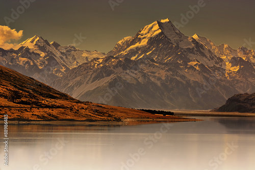 Fotografie, Obraz Sunset over Mount Cook, New Zealand