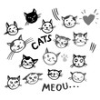 Vector icons of cat smiling faces