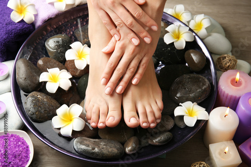Fotobehang Spa Female feet at spa pedicure procedure