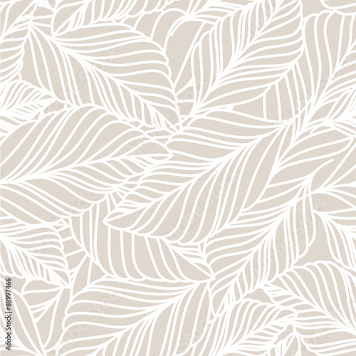 Poster Artificiel Vector hand drawn doodle leaves seamless pattern. Light pastel b