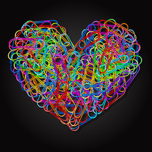 Colorful Paper Clips In Heart Shape