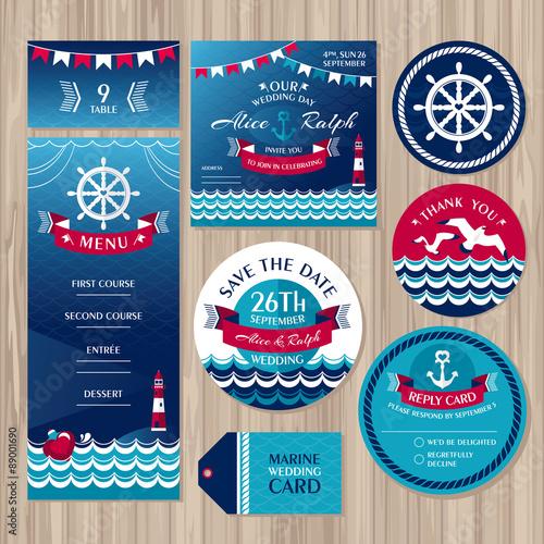 Fototapeta Set of marine wedding cards obraz