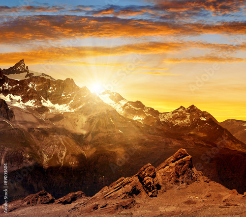 Sunset over the mountain Zinalrothorn of the Pennine alps, Switzerland