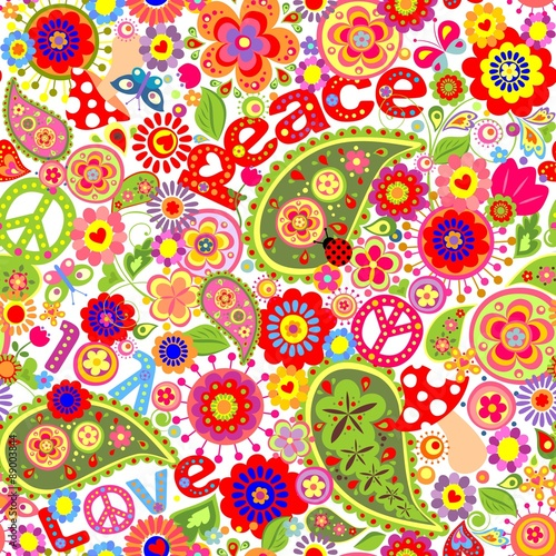 Fotografía  Hippie childish colorful wallpaper with mushrooms and poppies