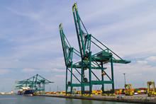 Large Container Cranes In Port Of Antwerp, Belgium