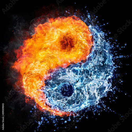 Fototapeta fire and water - yin yang concept - tao symbol
