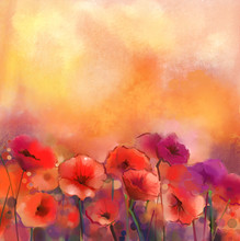 Watercolor Red Poppy Flowers Painting. Flower Paint In Soft Color And Blur Style.Yellow And Orange Background.Spring Floral Seasonal Nature Background